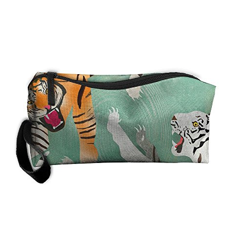 Dnieospla Unisex Two Tigers Print Portable Washable Travel Wristlets Bag Waterproof Lace PVC Bathing Toiletry Storage Pouch Bag With Zipper (Tigers Pvc Clutch)