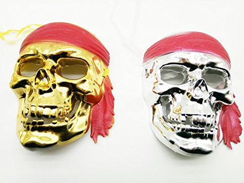 MCD @ Skull Skeleton Pirate Masks Color Sliver and Gold Pack of 2 (Mexican Day Of The Dead Mask)