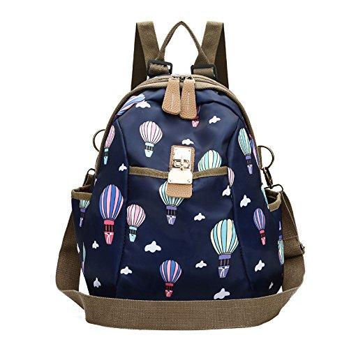 Femmes sac à dos en nylon imperméable grande capacité imprimé sac à dos collège étudiant sac de voyage sac à bandoulière sac à main D