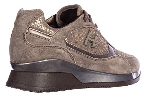 Hogan scarpe sneakers donna camoscio nuove elective allacciato h flock marrone
