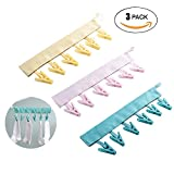 Kaxich Clothes Line Pegs, 3PCS Portable Travel Clothes Hanger Drying Rack Clothespin for Cloth Socks Drying Easily Hanging on the Clothesline with 6 Clips