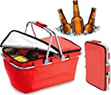 Bundaloo Collapsible Cooler Basket - Insulated Picnic Baskets for Lunch, Snacks, Drinks, Beer - Portable Food Storage Bags for Traveling, Fishing, Camping, Indoor, Beach (Red)