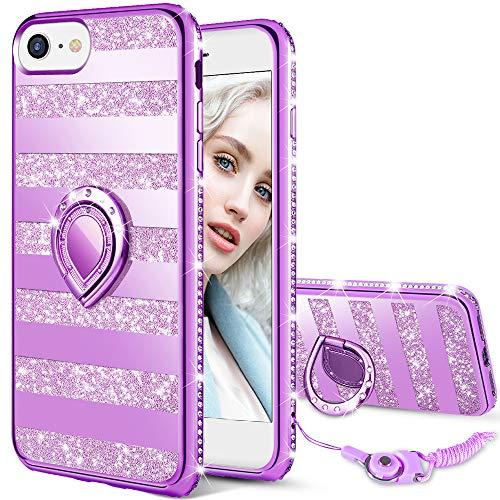 Maxdara Case for iPhone 8 iPhone 7 Glitter Case Mirror Reflex Striped Bling Shiny Diamond Rhinestone Bumper Ring Grip Holder Kickstand Cute Girls Women Cover Case for iPhone 6 6s 7 8 (Purple)