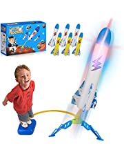 Toy Rocket Launchers for Kids, Outdoor Toys for Kids, Outdoor Air Rocket Toys with 6 Foam Air Jump Rockets, Easter Basket Stuffers Outdoor Sports Gifts for Toddlers Kids Boys Girls Age 3 Years and Up