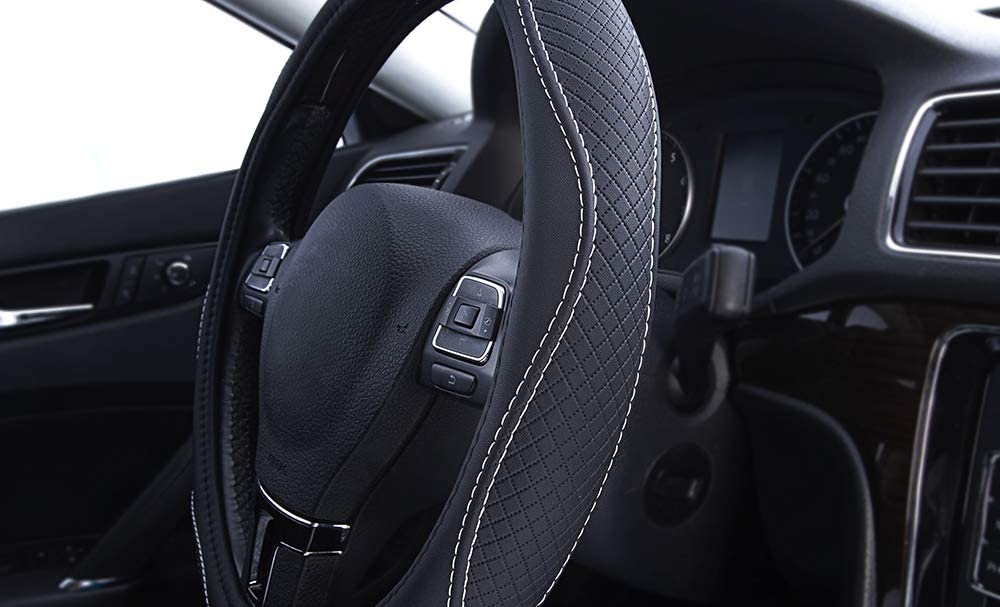 PIC AUTO Steering Wheel Covers Trucks Suvs Anti-Slip Blue Sedans Universal 15 inch for Cars PVC Leather Breathable