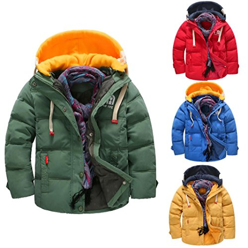 Autumn Winter Coat - Sunbona Children Boys Heavyweight Down Jacket Coat Puffer Detachable Cap Warm Thick Coat Clothes (4T(2~3years), Army Green)