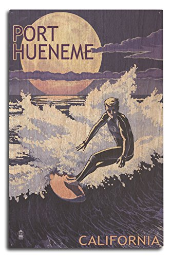 Lantern Press Port Hueneme, California - Night Surfer (10x15 Wood Wall Sign, Wall Decor Ready to - Surfer Sign Wood