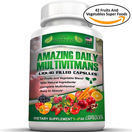 FOOD BASED Daily Liquid Filled Multivitamin Supplement Capsules For Men Women Seniors With 42 Fruits Vegetables Blend, 21 Essential Vitamins Minerals, Boosts Immune System And Energy. Easy To Swallow (Same Dietary Supplement Tablets Plus)