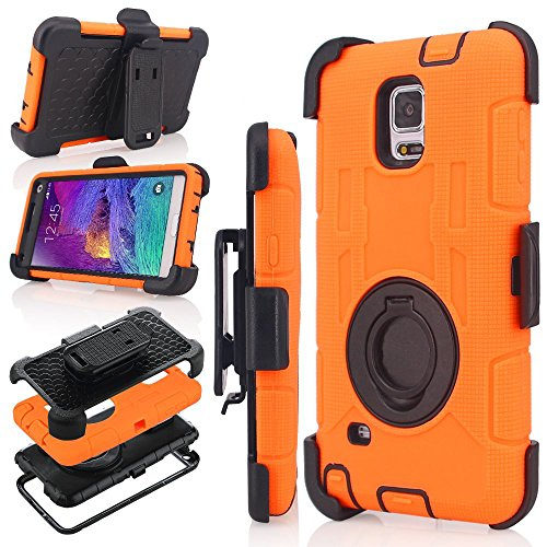 Samsung Galaxy Note 4 Case, Jwest [Heavy Duty] Belt Clip Holster Case for Galaxy Note 4 Full-body Rugged Impact Resistant Rubber Bumper Hybrid Protective Cover WITHOUT Screen Protector (Orange)