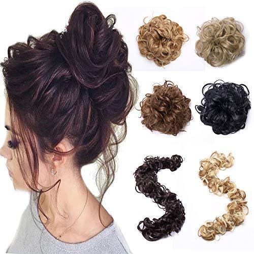 Elailite Curly Messy Hair Bun Maker Versatile Long Hair Wrap DIY Ponytail Extensions Chignon Magical Around Scrunchies Long Hair Band 85g Long Hair Band-Chestnut Brown Mix Golden Blonde