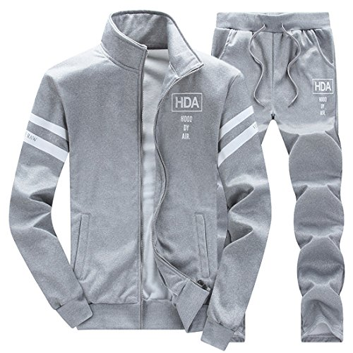 GRMO Mens Zipper Sweatshirt Coat Sweatpant Set Track Suit Activewear