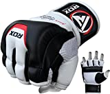 RDX Cow Hide Leather MMA Grappling Gloves UFC Cage Fighting Sparring Glove Training T3,White,Medium