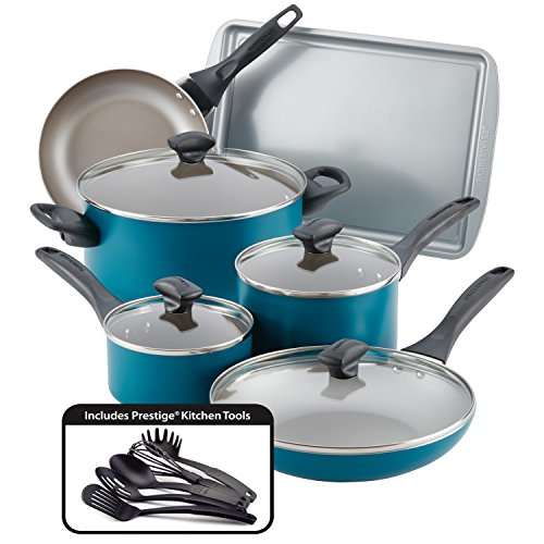 Farberware 20361 Dishwasher Safe Nonstick Cookware Pots and Pans Set, 15 Piece, Teal