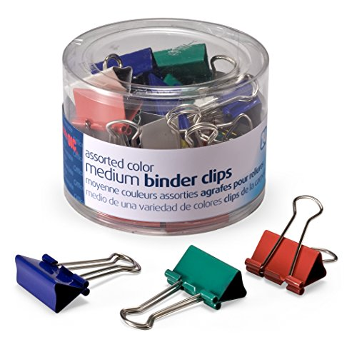 - Officemate Medium Binder Clips, Assorted Colors, 24 Clips per Tub (31029)