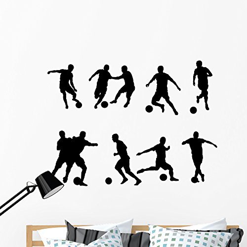 Wallmonkeys Soccer Player Silhouette Wall Decal Sticker Set Individual Peel and Stick Graphics on a (48 in W x 35 in H) Sticker Sheet WM367368 ()
