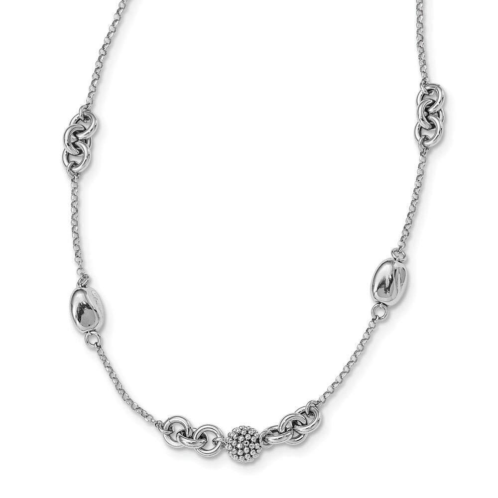 18 Sterling Silver Beaded Fancy Necklace