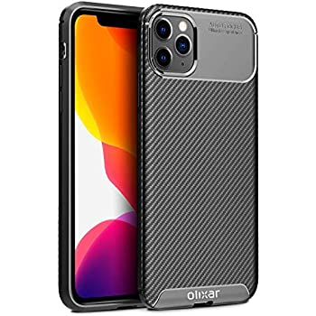 Olixar for iPhone 11 Pro Max Carbon Fiber Case - Slim TPU Cover - Thin Protective Cover - Shock Protection - Enhanced Grip - Wireless Charging Compatible - Tough, Slim & Lightweight - Black