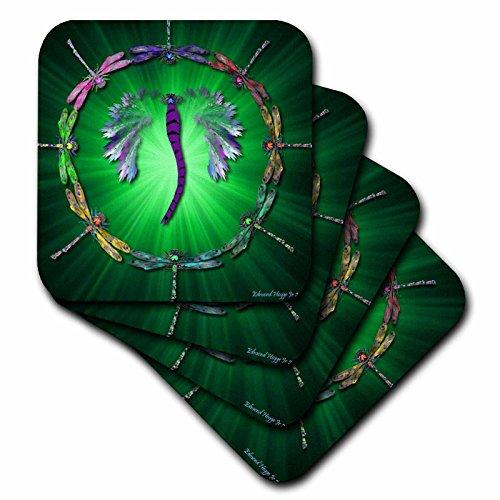 Coaster Tile Dragonfly - 3dRose cst_50290_3 Dragonfly Dance-Ceramic Tile Coasters, Set of 4