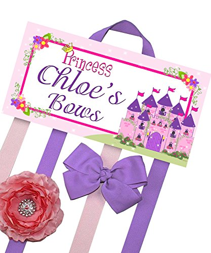 Princess Fairytale HairBow Holder - Bows and Clips Organizer - Girls Personalized Hair Bow and Clip Hanger HB0040