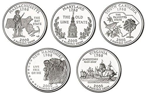 2000 P, D BU Statehood Quarters - 10 coin Set Uncirculated ()