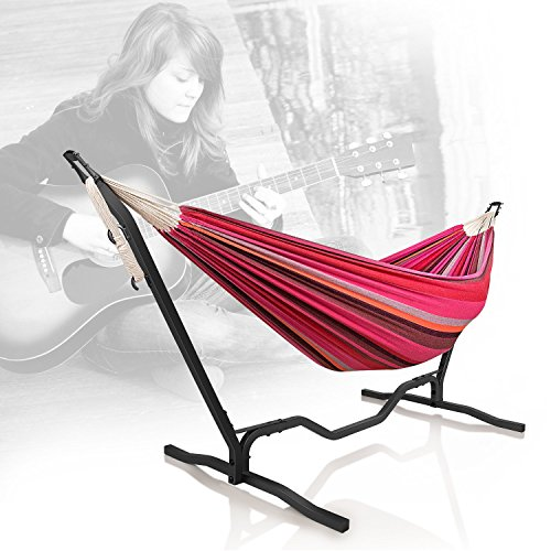 Holifine Double Hammock with 9-Feet Steel Stand Unique Guitar Design Travel Camping Two Person Adjustable Hanging Bed 79 x 59 ' for Backyard Porch Balcony Garden Lawn Indoor Outdoor Use - Red