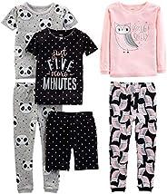 Simple Joys by Carter's Girls' Toddler 6-Piece Snug Fit Cotton Pajama Set, Owl/Panda