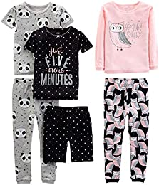 Baby  Little Kid  and Toddler Girls 6-Piece Snug Fit Cotton Pajama Set