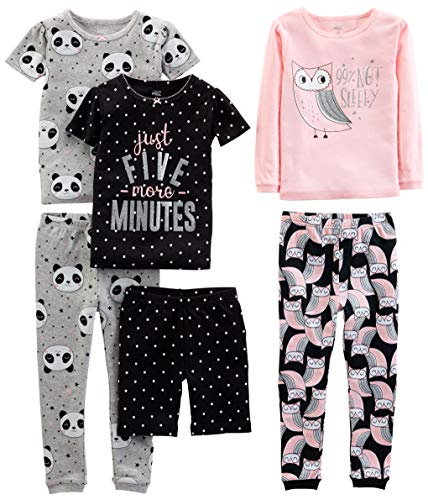 Simple Joys by Carter's Girls' Little Kid 6-Piece Snug Fit Cotton Pajama Set, Owl/Panda/Dot, 7