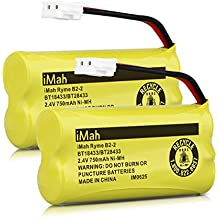 iMah Ryme B2-2 BT18433 BT28433 Cordless Phone Battery Pack for Vtech CS6219 CS6229 DS6301 DS6151 DS6101 BT184342 BT284342 BT-1011 BT-1018 BT-1022 BT-1031 Home Handset Telephone (Pack of 2)