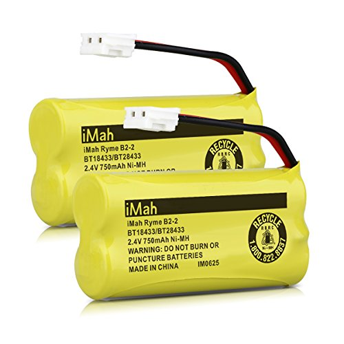 iMah Ryme B2-2 BT18433 BT28433 Cordless Phone Battery Pack for Vtech CS6219 CS6229 DS6301 DS6151 DS6101 BT184342 BT284342 BT-1011 BT-1018 BT-1022 BT-1031 Home Handset Telephone (Pack of 2) (Batteries Portable Phone)