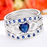 3Pcs Irish Claddagh Celtic Heart Sapphire 925 Silver Ring Wedding Bridal Set New#by pimchanok shop (7)