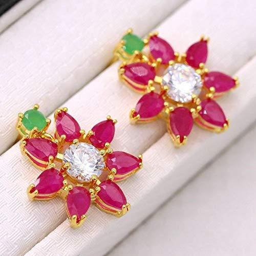 FidgetFidget Wedding Jewelry Flower Emerald Ruby Rhinestones Necklaces Earrings Set