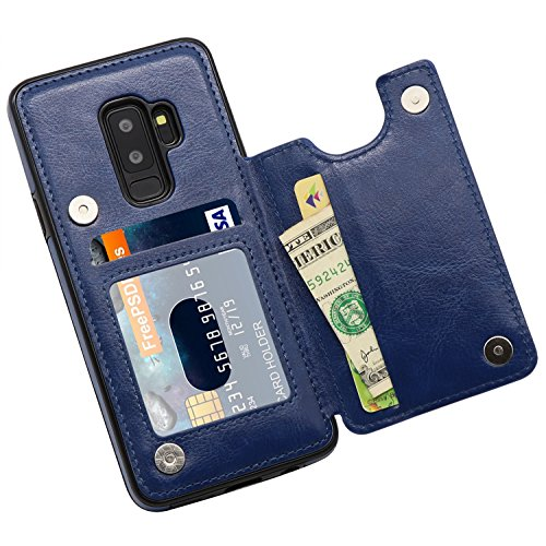 Galaxy S9 Plus Wallet Case, MMHUO Premium PU Leather Galaxy S9 Plus Case with Credit Card Holder Double Magnetic Buttons Flip Shockproof Protective Cover Samsung Galaxy S9 Plus 6.2 Inch - Blue