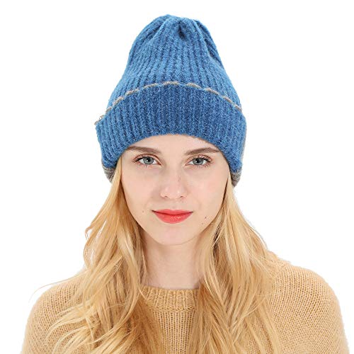 AKwell Women Men Autumn Winter Beanie Hat Knitting Wool Warm Hats Earmuffs Hat Two-Tone Stitching Cuffed Knit Hat