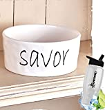Gift Included- White Farmhouse Kitchen Tabletop Chip & Dip Serving Bowl + FREE Bonus Water Bottle by Home Cricket Homecricket