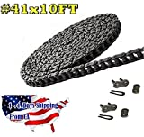 Donghua Roller Chain #41, 10FT with 2 Connecting Links, Single Strand, Riveted, Durable For Go Carts, Mini Bikes, Garage Gate And Other Use