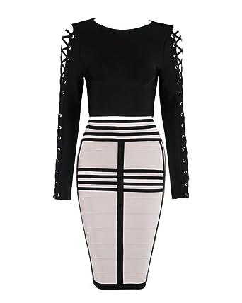f13b5664648b99 Whoinshop Damen Langarm Kleider Bodycon Kleid Zweiteilig Figurbetontes  Partykleid Cocktailkleid mit Schnüren Hülsen