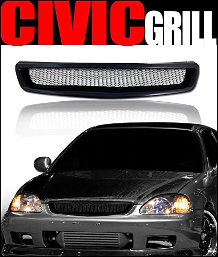 97 Aggressive Front Bumper - VXMOTOR - Black Aluminum Mesh Type Front Bumper Hood Grill Grille 96-98 Honda Civic Ek Ek9 R