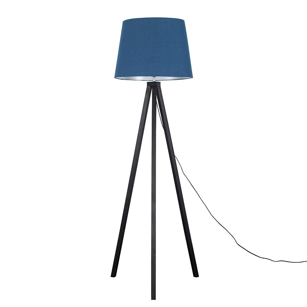 Modern Black Wood Tripod Design Floor Lamp with a Navy Blue Tapered Shade Complete with a 6w LED GLS Bulb [3000K Warm White]