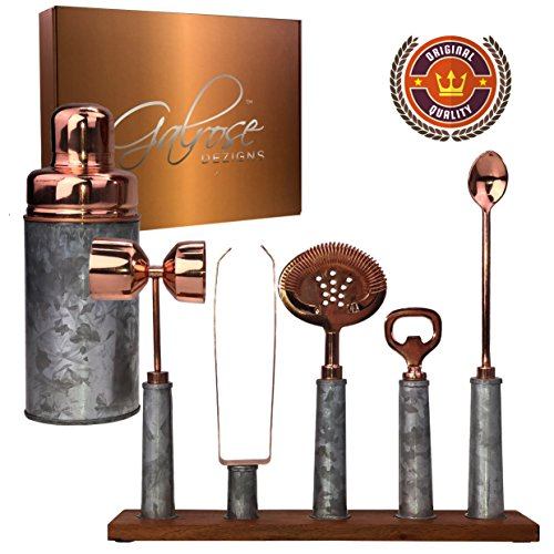7 PIECE BAR SET Galvanized Iron Double Walled Stainless Steel Lined Cocktail Shaker | Rose Gold Finish Accessories on Magnetic/Timber Organiser Stand | Unique Industrial Chic Look | Gift Boxed 21 Rustic Iron