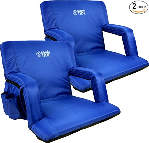 Extra Wide Armrest - Brawntide Wide Stadium Seat Chair - Extra Thick Padding, Adjustable Bleacher Strap, Shoulder Straps, 4 Pockets, Water Resistant, Ideal For Sporting Events, Beaches, Parks, Camping (Blue, 2 Pack)