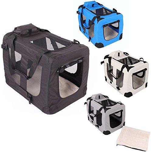Transportbox faltbar inklusive Polster Hundebox Autobox Katzen in verschiedenen Farben & Größen (M, Schwarz)