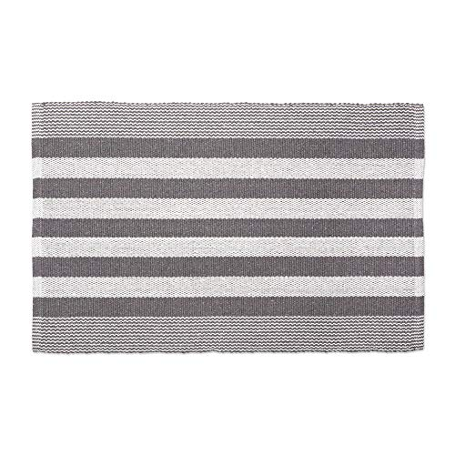 DII CAMZ11082 Contemporary Reversible Machine Washable Recycled Yarn Area Rug for Bedroom, Living Room, and Kitchen, 2 x 3', Cabana Stripe Gray