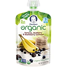 Gerber Organic 2nd Foods Baby Food, Banana, Blueberry & Blackberry Oatmeal, 3.5 oz Pouch, 12 count