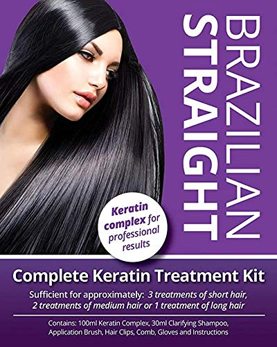 SALON QUALITY WITH PROFESSIONAL RESULTS. Brazilian Straight, Keratin Purple Treatment Kit, Quality Hair Straightening/Blow Dry/Smoothing/Home Use, Great gift