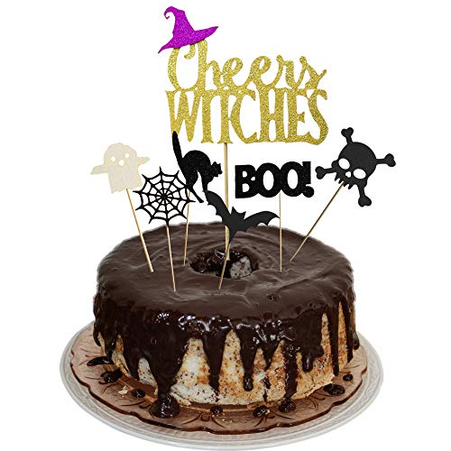 Cake Decorations For Halloween (Cheers Witches Halloween Party Cake Topper Cupcake Picks Decoration Kit for Halloween Themed Birthday/Wedding Party)