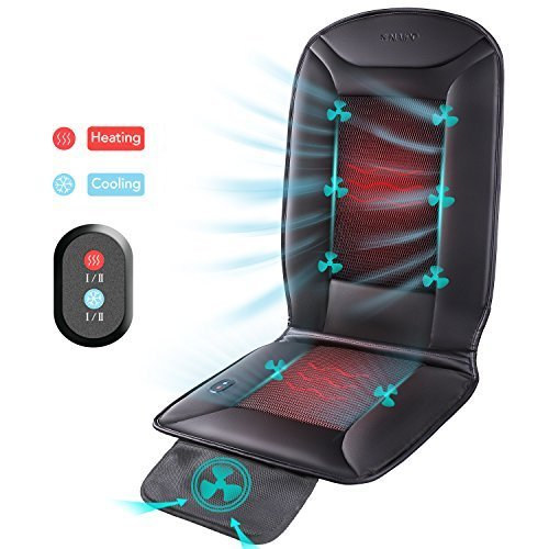 Naipo Cooling Car Seat Cushion with 2 Levels Cooling and 2 Levels Heating, Breathable Air Conditioned Seat Cover with Car Fan for 12V Car, Home, Office, Black