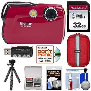 Vivitar ViviCam 8119 Digital Camera (Red) with 32GB Card + Case + Flex Tripod + Reader + Kit