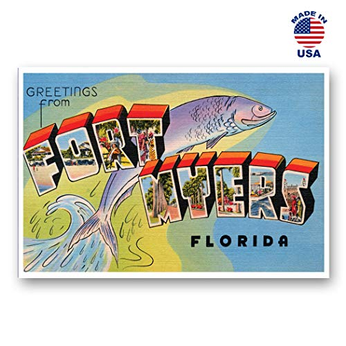 GREETINGS FROM FORT MYERS, FL vintage reprint postcard set of 20 identical postcards. Large Letter Ft. Myers, Florida city name post card pack (ca. 1930's-1940's). Made in ()