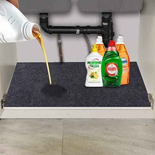 Under The Sink Mat,Kitchen Tray Drip,Cabinet,Absorbent Felt Layer Material,Backing Waterproof(36inches x 24inches) (Washing Machine Water Backing Up Into Kitchen Sink)